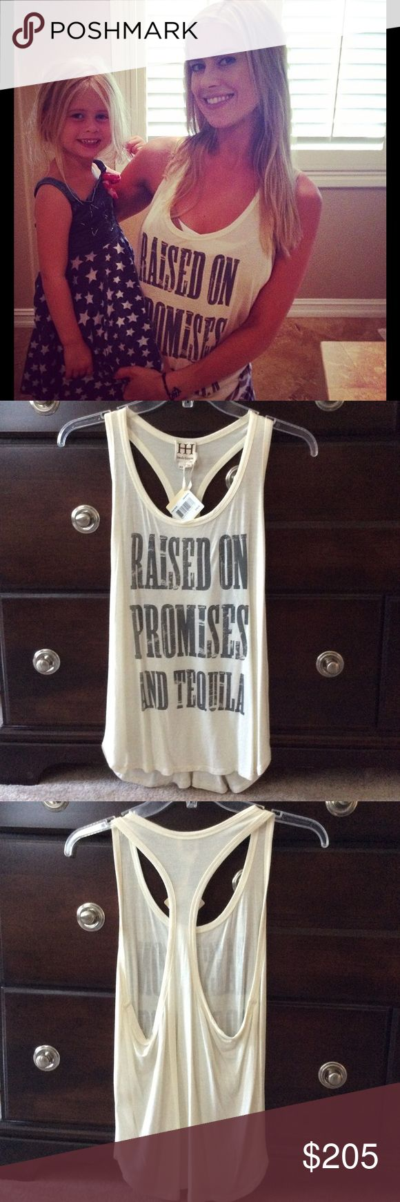 Haute Hippie Raised on Promises and Tequila Tank Haute Hippie Raised on Promises and Tequila Racerback Tank. Swan/coal. Size XS. As seen on Christina El Moussa from Flip or Flop. Haute Hippie Tops Tank Tops