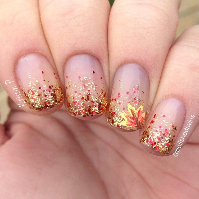 Fall Glitter and Leaves Nail Art