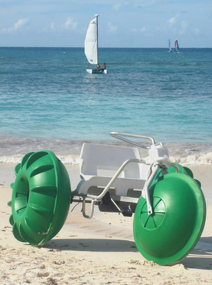 Aqua cycle and hobie cats in Antigua Beach