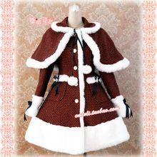 Dot Winter Kleid Red Lolita Kleid Wolle Mädchen Winter Kleider Mit Kappe(China (Mainland))