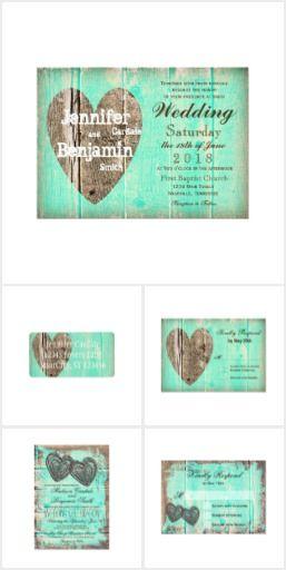 Rustic Wood Aqua Heart Wedding Invitation Set