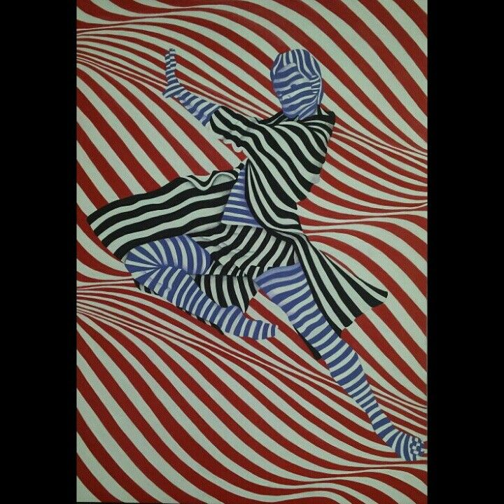 """""""Don't tell me the sky is the limit when there are footprints on the moon"""" ♡ Gouache painting #artist #optical_art #illusion #dancer"""
