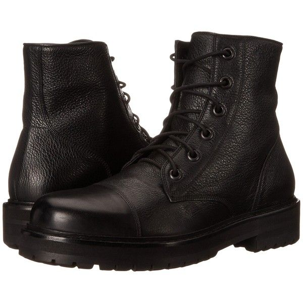 Marc Jacobs Cap Toe Boot (Black) Men's Boots ($313) ❤ liked on Polyvore featuring men's fashion, men's shoes, men's boots, shoes, black, mens black boots, mens black shoes, mens leather shoes, mens lace up boots and mens combat boots