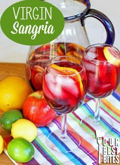 This Virgin Sangria is a great summer time drink! It's easy, it's quick, it's delicious and refreshing. Kids and adults love it!