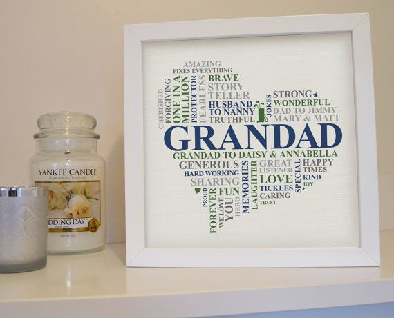 Framed Grandad gift. Personalised Grandpa print. by AliChappellUK