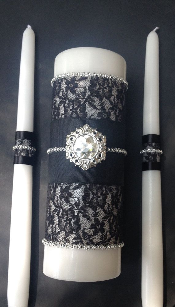 Hey, I found this really awesome Etsy listing at https://www.etsy.com/listing/242593724/unity-candle-with-black-lace-fabric-and