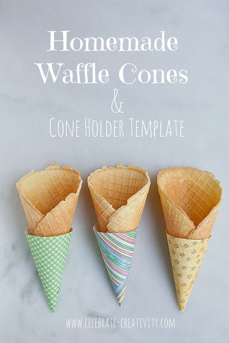 Ice cream lovers will delight in these homemade waffle cones.  Cone holder template included.