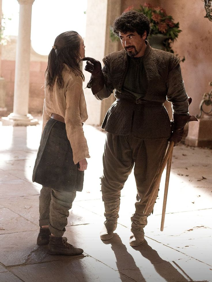 "Arya with Syrio Forel - ""There is only one God, and his name is Death. And there is only one thing we say to death: 'Not today.'"""