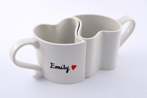 Coupled romantic mugs true love mugs surprise cute by atelierChloe