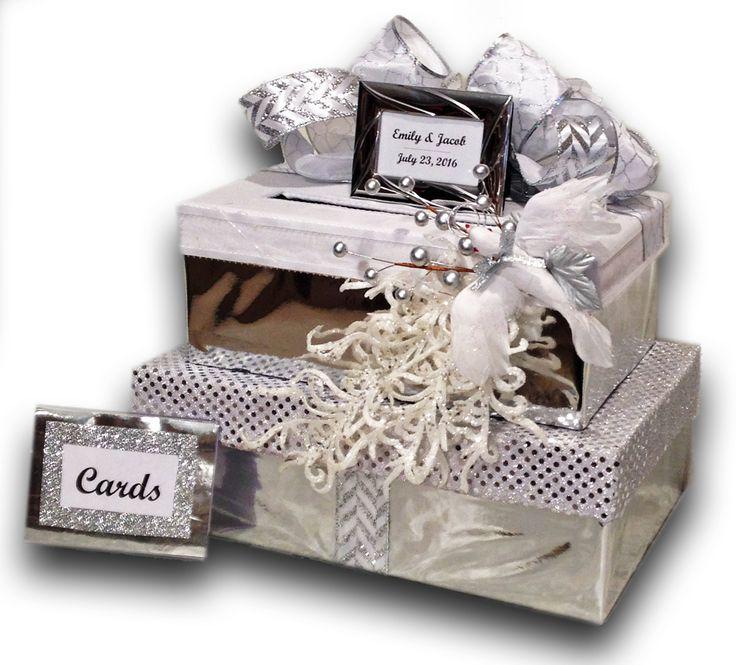 wood wedding card holders%0A Wedding Card Boxes Silver Wedding Card Box wedding card box with slot white Wedding  Invitation Card Box Silver Wedding Winter Wonderland