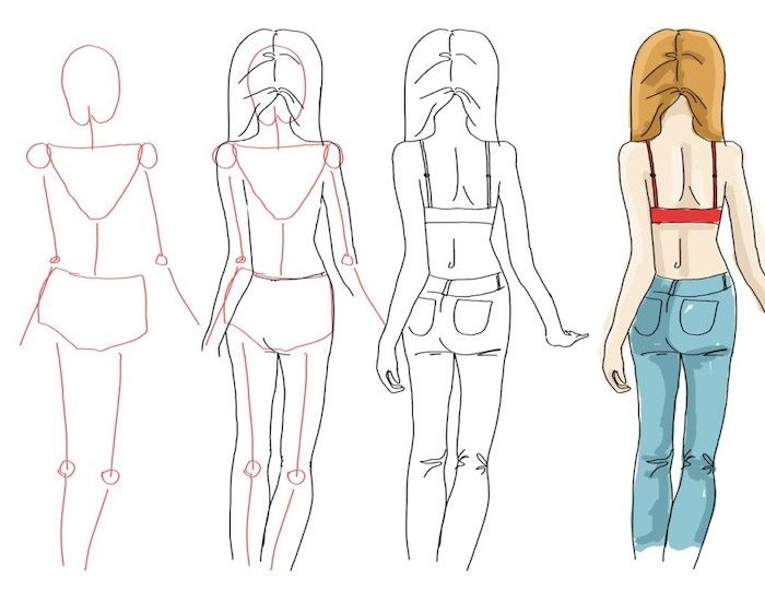 Step By Step Girl Face Drawing Jeans Long Hair Red Top White Background In 2020 Cute Girl Drawing Girl Drawing Girl Face Drawing
