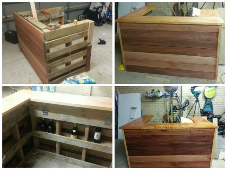 """3 Recycled pallets joined in a U shape to create my own pallet bar. Used recycled jarrah timber for the finish, with a cedar stain and varnish timber bar top. [symple_box color=""""gray"""" fade_in=""""false"""" float=""""center"""" text_align=""""left"""" width=""""100%""""] Submitted by: joshua matthews…"""