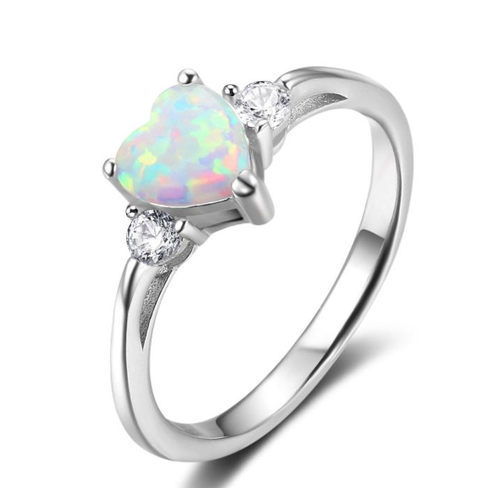 Post Included Aus Wide and to most international countries! >>> White Opal Heart Ring - 925 Sterling Silver