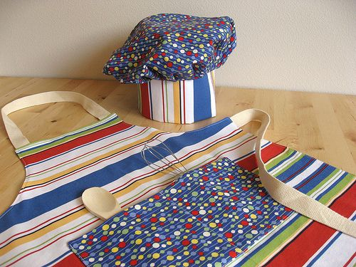 Apron and Chef Hat: Heads, Sewing, Kid S Apron, Gift Ideas, Aprons, Hat Tutorial, Chef Hats, Kids Apron