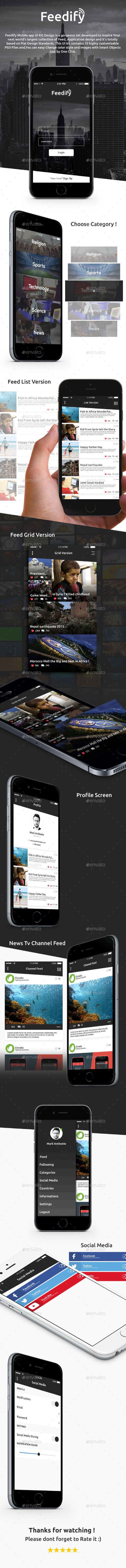 Feedify News Feed Mobile App UI Kit Design #userinterface Download: http://graphicriver.net/item/feedify-news-feed-mobile-app-ui-kit-design/11924759?ref=ksioks