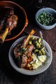 Sunday Dinner // Braised Lamb Shanks with Fresh Corn and Blue Cheese Polenta, Brussels Sprouts, and Classic Apple Pie | Katie at the Kitchen Door