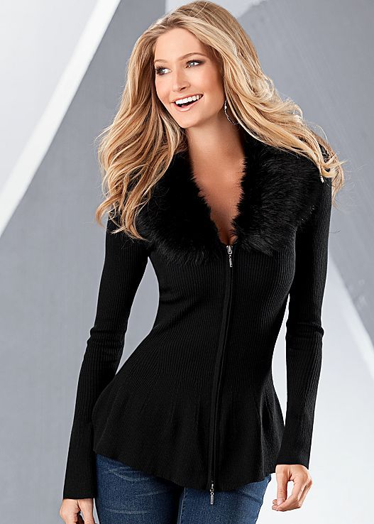 Women's Sweaters - Comfortable Fabrics & Styles by VENUS. Faux Fur Peplum Sweater, extra small in black!!!