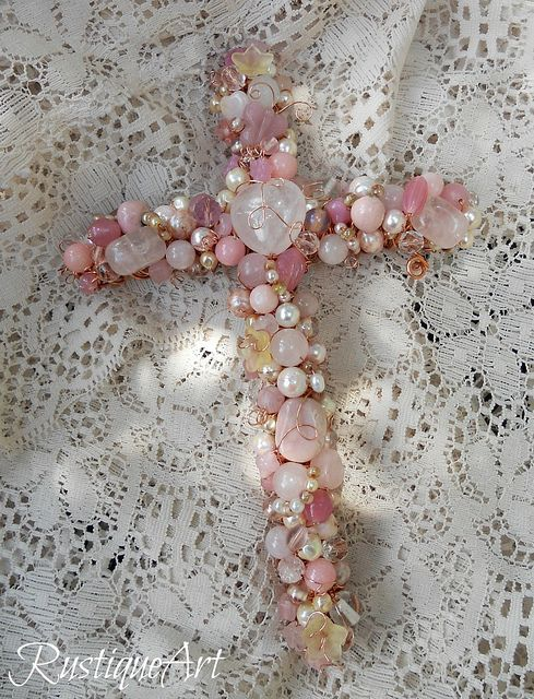 "8"" Beaded Wire Wall Cross by RustiqueArt 