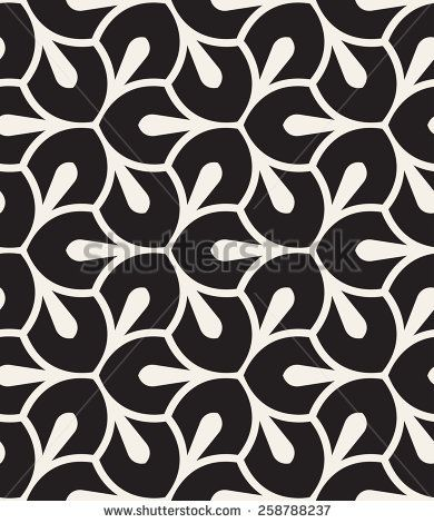 Vector seamless pattern. Monochrome graphic design. Decorative geometric leaves. Regular floral background with elegant petals. Modern stylish ornament.