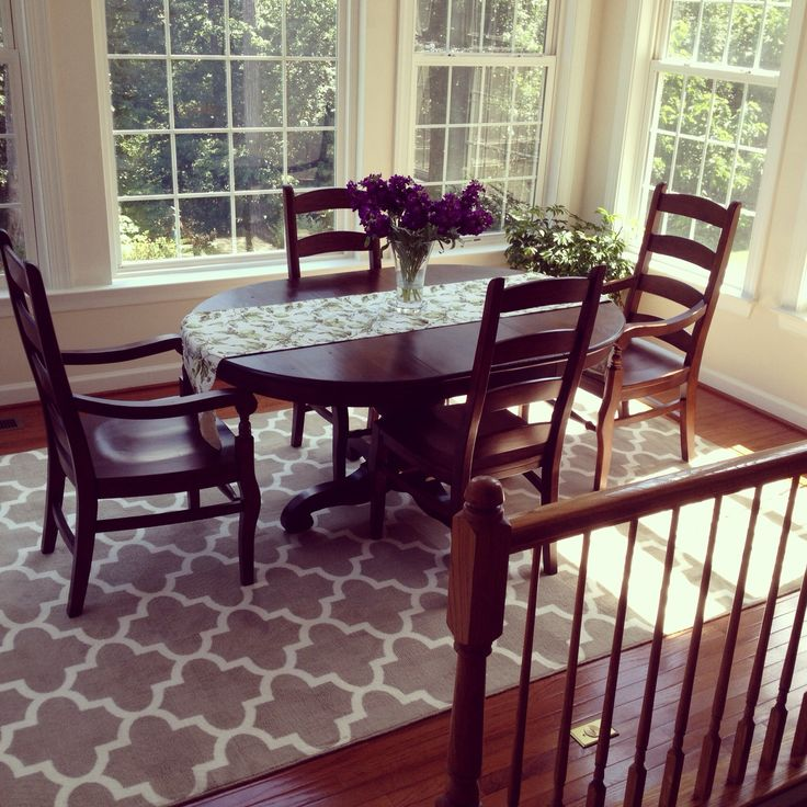 Tivoli Extending Pedestal Table Pottery Barn With PB Wynn Ladderback Chairs And Target Trellis Rug