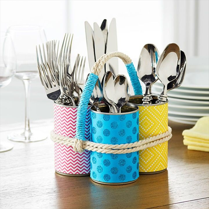 Upcycled Silverware Holder 25 Creative Diy Tin Can Ideas For The Home To