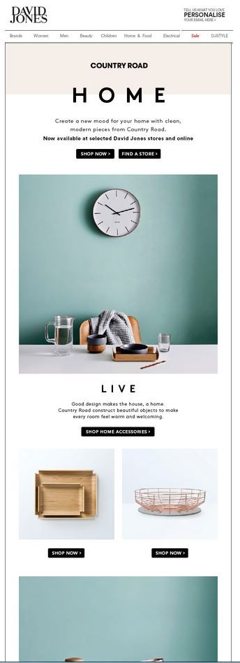 David Jones introduces Country Road's Home collection. Sent 13th September.