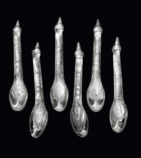 Collection of 6 Spoons (Orca, Hummingbird and Eagle designs), c. 1915–17 « Charles Edenshaw