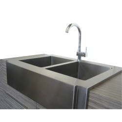 """Farmhouse Apron Front Kitchen Sink. 36 Inch 50/50 Equal Double Bowl with Faucet Mounting Hole. Premium 16 Gauge Stainless Steel. 15mm Radius Coved Corners Design. Exterior Dimensions 36"""" x 25-1/4"""". Left and Right Bowl 14"""" x 18"""". Apron Depth 10"""". Bowl Depth 10"""".  http://www.emoderndecor.com/36-inch-stainless-steel-curved-front-farm-apron-double-50-50-bowl-kitchen-sink.html#.UTX0dmMyXRg"""