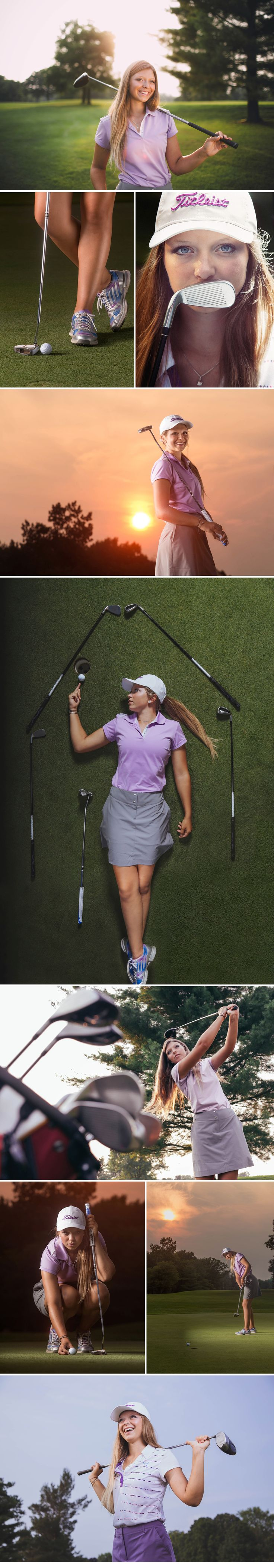 Golf senior photo session ideas for girls. Pop Mod Photo in Flint, MI. www.popmodphoto.com #seniorphoto #golf #portrait