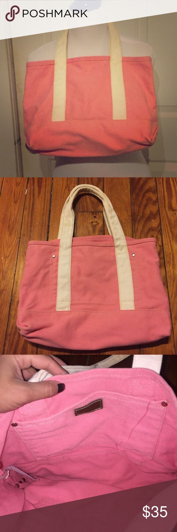 Pink & White J. Crew Tote Bag Vintage Pink & White J. Crew Tote Bag Vintage. In excellent condition. Very Sturdy. Has studded corners on the bottom edges. No flaws observed. Recently cleaned. Measurements to come!! Bundle and Save $$$ J. Crew Bags Totes
