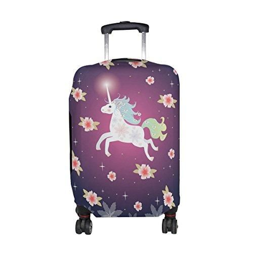 MyDaily Unicorn Flowers Stars Travel Luggage Cover Spandex Protector Fits 23-32 Inch Suitcase XL