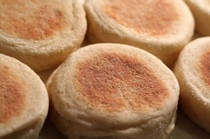 English muffins -  are a yeast-based dough They are a delicious tea-time treat, toasted and served warm with butter or filled, they make a lovely sandwich.