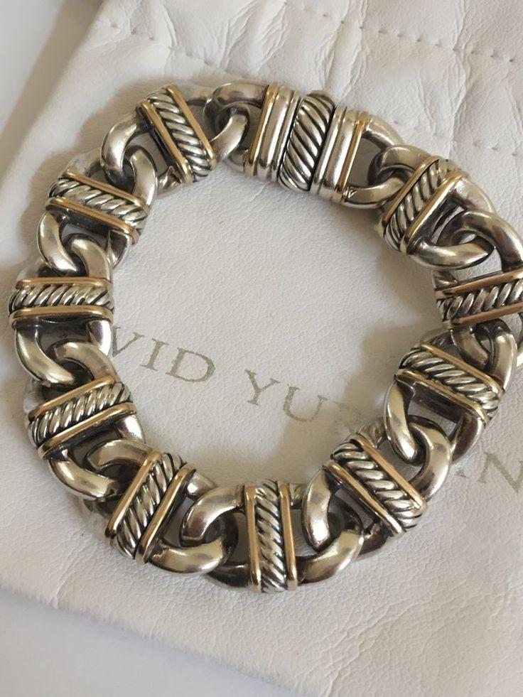 "925 Silver Chain >> DAVID YURMAN 7 1/2"" CLASSIC STERLING SILVER & 18k GOLD ..."
