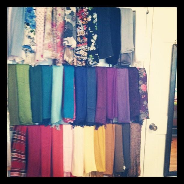 Hijab scarf organization tip via martha stewart using for Scarves hanger ikea