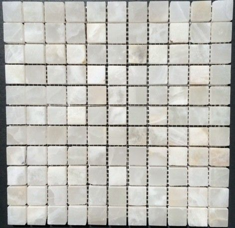 1x1 Pearl White Onyx Square Pattern Polished Finish Mosaic Tile Mosaic Mesh Onyx Tile White Onyx