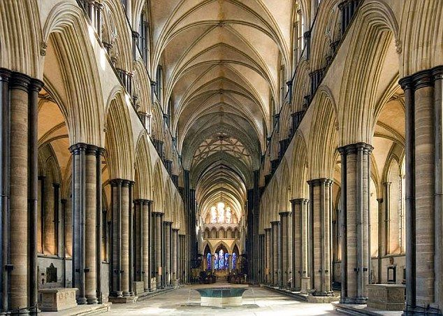 This picture shows Kingsbridge cathedral, from the inside, built in the 12th Century... from Pillars Of The Earth...