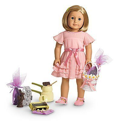 American Girl Limited Edition Kit's Easter Outfit and Candy Making Set by American Girl http://www.easterdepot.com/american-girl-limited-edition-kits-easter-outfit-and-candy-making-set-by-american-girl/ #easter  Includes pretty easter outfit (dress and shoes) and sweet supplies, pretend double boiler, spoon, pretend chocolate squares and bunny molds, 3 faux chocolate bunnies, 3 sheets of netting and ribbons to wrap bunnies, pretty easter basket, DOLL IS NOT INCLUDED