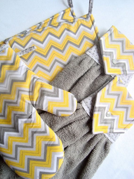 Gray Yellow Chevron Kitchen Gift Set 2 by MarlenesSewingRoom, $44.00