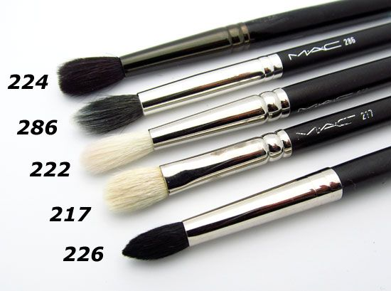 Favorite MAC brushes - my must haves for blending 8)... 217 and 224 are terrific blending brushes. 226 is awesome for applying color perfectly in the crease especially when you are applying product on someone else. Works well on most eye shapes. Good brushes to own if you do a lot of freelance.