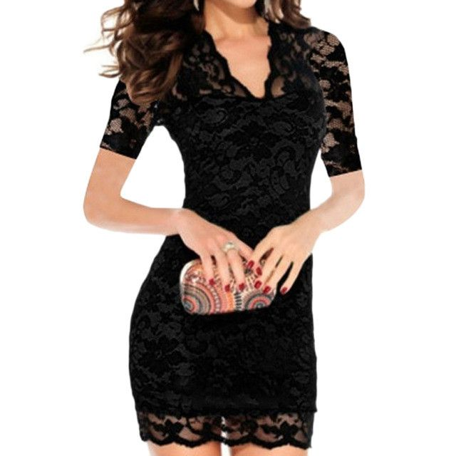 2017 Women Sexy Summer Dress Hollow Out Slim Lace Stretch Dresses V-Neck Short Sleeve Party Pencil Bodycon Bandage Mini vestidos