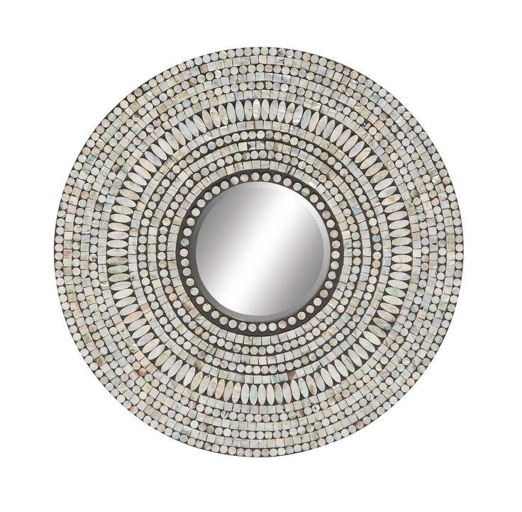 Wood Shell Inlay Round Mirror