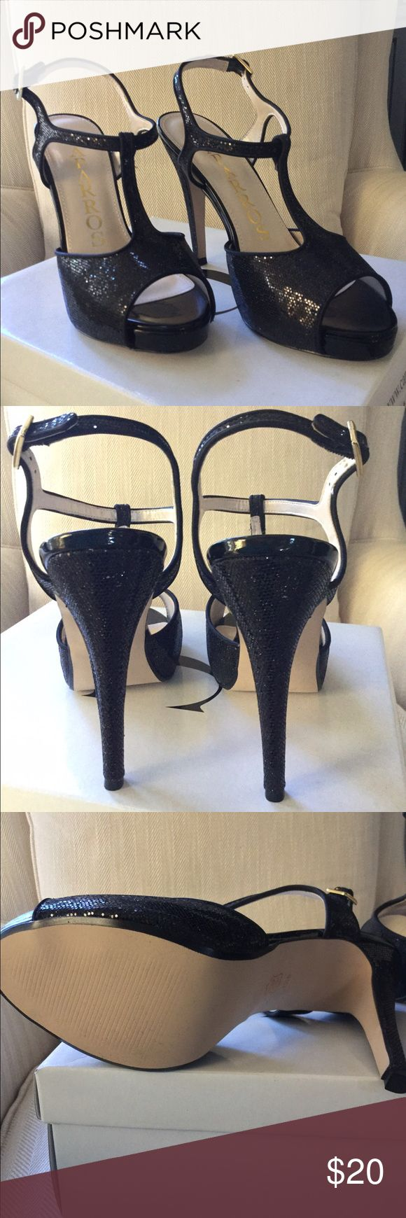 """T-Strap platform black special occasion shoes NWB Caparros Daria special occasion shoes. Size 7.5m. New with Box. Black sparkly T-Strap with small platform. 4.5"""" heel with .5"""" platform. Caparros Shoes Heels"""
