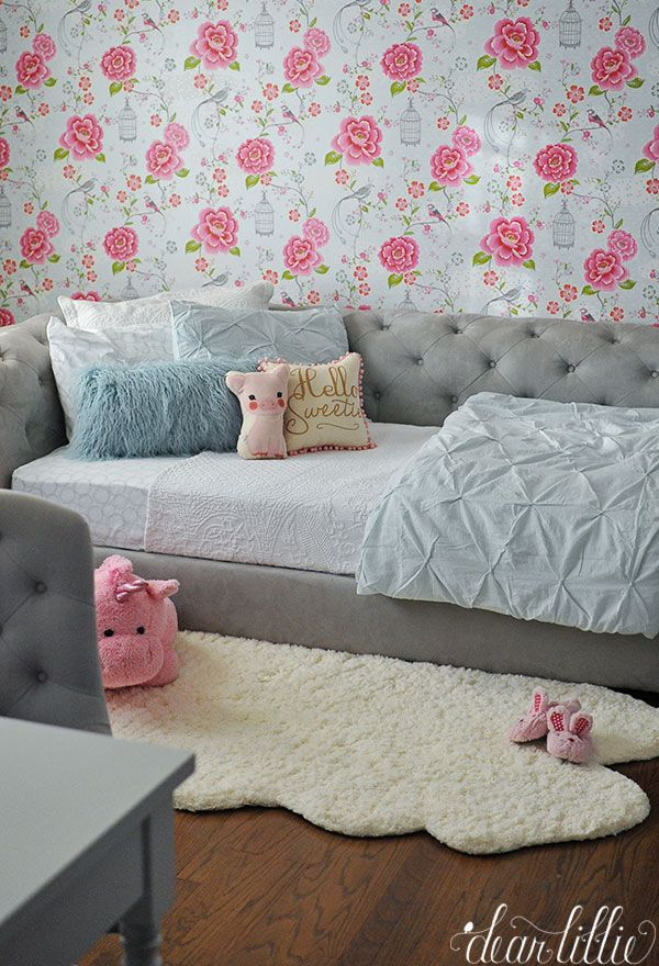 plush design little girl room. This large plush unicorn from HomeGoods was the perfect touch for this little  girls room with tufted daybed and fun pink blue wallpaper 281 best Kid s Room images on Pinterest Rugs usa Area rugs