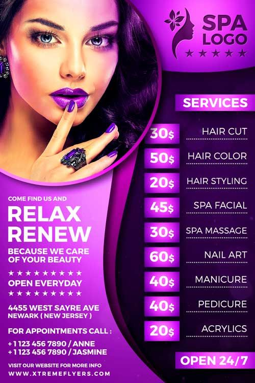 Beauty Salon Flyer Template was designed to advertise a grand opening related to...