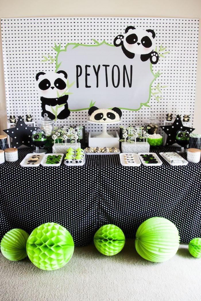 "Party table from Panda Bear ""Panda-monium"" Birthday Party here at Kara's Party…"