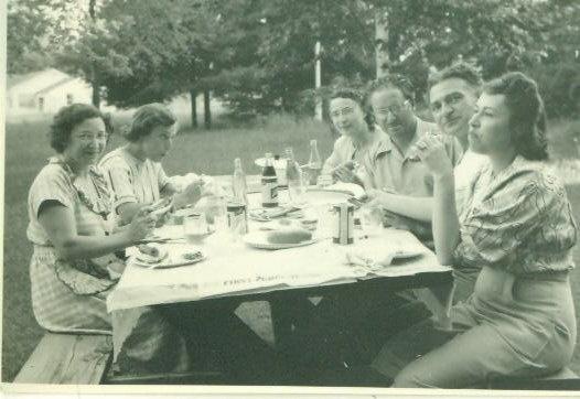 Vintage 1940s Family Picnic Table Photo Snapshot Food Soda