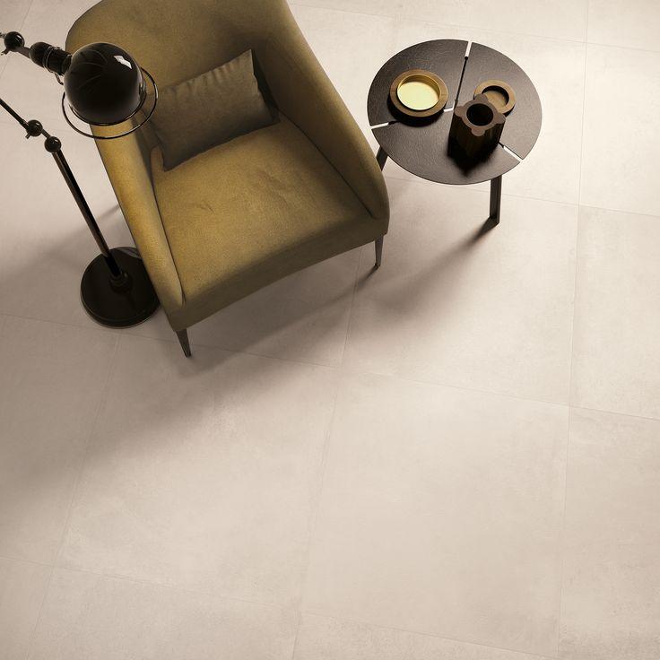 Piastrelle in gres porcellanato effetto cemento. colore Ivory Collezione Carnaby:  http://www.supergres.com/your-home/pavimenti/item/571-carnaby  #gres #EffettoCemento #ConcreteLook #CeramicsOfItlay