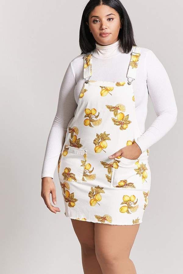89ff6febce Forever 21 Plus Size Lemon Print Overall Dress
