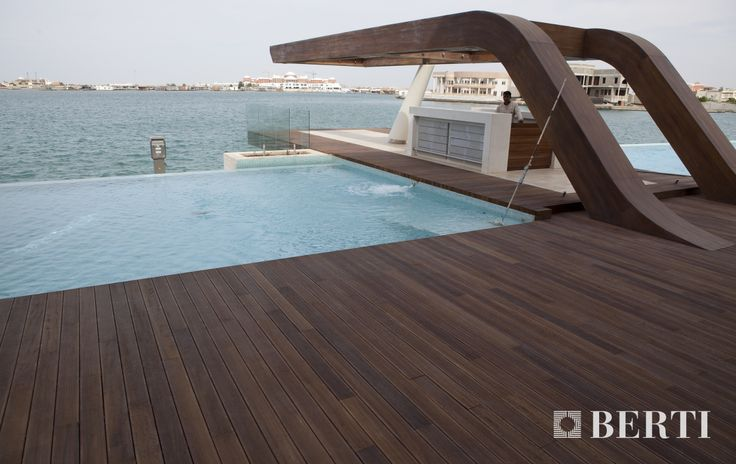 Havana Decking by Berti Wooden floor. Easy to install and of a great aesthetic effect, the Berti havana planks are installed on specific supporting profiles (wood sleepers). #parquet #parquetlovers
