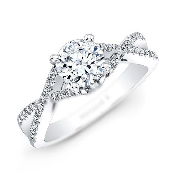 Infinity Twist Micropave Diamond Engagement Ring in 14k White Gold